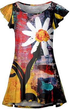 Lily Yellow & Black Daisy Flutter-Sleeve Tunic - Women & Plus