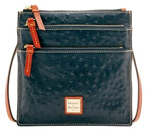 Dooney & Bourke Ostrich North South Triple Zip Shoulder Bag. - GREY - STYLE