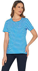 Denim & Co. Denim &Co. Striped Round Neck Perfect JerseyTopw/ Lace Trim