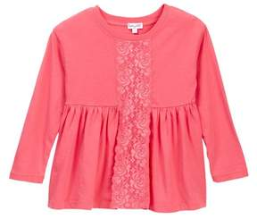 Splendid Long Sleeve Lace Insert Top (Toddler Girls)