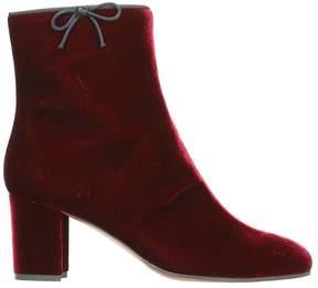 L'Autre Chose Bordeaux Velvet Zip-up Ankle Boots