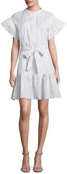 BELLE + SKY Ruffle Sleeve Dress with Tie