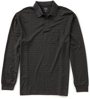 Roundtree & Yorke TravelSmart Big & Tall Long-Sleeve Stripe Pocket Polo
