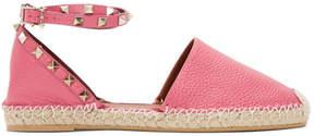 Valentino Pink Garavani Leather Rockstud Espadrilles