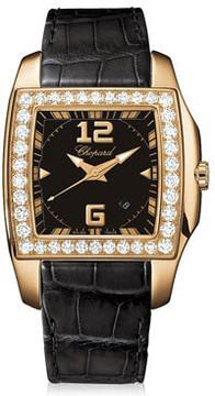Chopard Two O Ten Black Dial Diamond Black Leather Ladies Watch