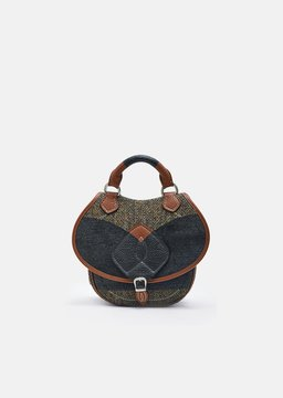 Maison Margiela Tweed Grained Leather Saddle Bag Brown Green Size: One Size