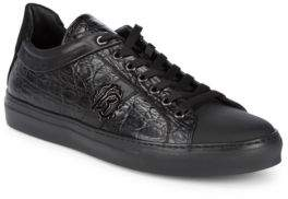 Roberto Cavalli Embossed Leather Low-Top Sneakers