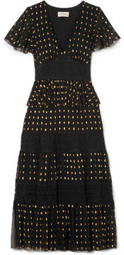 Temperley London Wondering Lace-paneled Fil Coupé Georgette Midi Dress - Black
