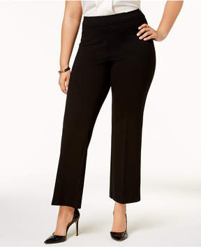 Kasper Plus Size Pull-On Ponte-Knit Pants