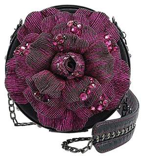 Mary Frances Bewitching Beaded Violet Rose Crossbody Handbag