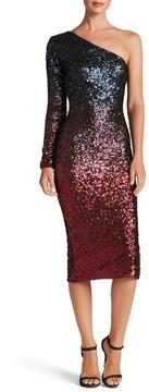 Dress the Population Women's One-Shoulder Ombre Sequin Sheath Dress