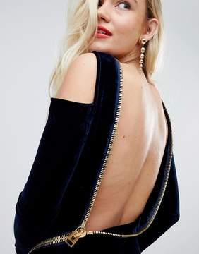 Asos Velvet Open Zip Back Bodycon Mini Dress