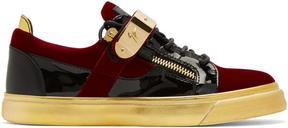Giuseppe Zanotti Red and Black Velvet London Sneakers