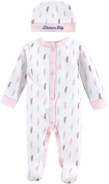 Luvable Friends Pink & White Feathers Footie & Cap - Newborn