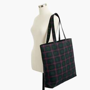 J.Crew Large reusable everyday tote in Black Watch plaid