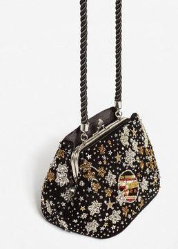MANGO Velvet bead bag