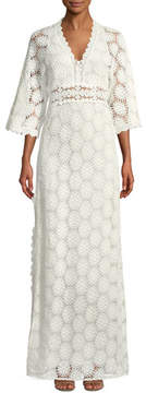BA&SH Lorr V-Neck Crochet Lace Maxi Dress