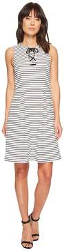 Adrianna Papell Striped Ottoman Laced A-Line Women's Dress