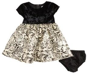 Us Angels Infant Girl's Velvet & Floral Jacquard Dress