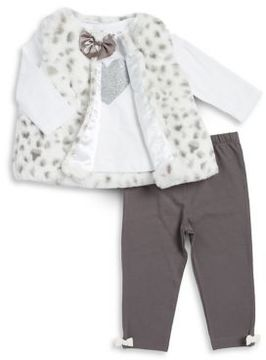 Little Me Baby's Three-Piece Faux-Fur Vest Graphic Top and Bow Leggings Set