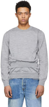 Comme des Garcons Grey Wool Intarsia Sweater