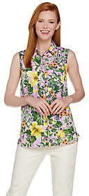 C. Wonder Tropical Floral Print SleevelessCarrie Blouse