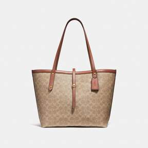 COACH COACH MARKET TOTE IN SIGNATURE CANVAS - TAN RUST/BRASS