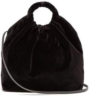 The Row Double Circle Xl Velvet Bag - Womens - Black