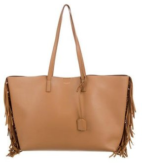 Saint Laurent Large Shopping Fringe Tote - BROWN - STYLE