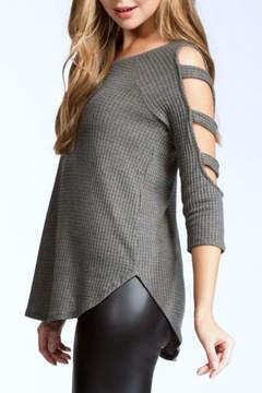 Cherish Waffle-Knit Cold-Shoulder Top
