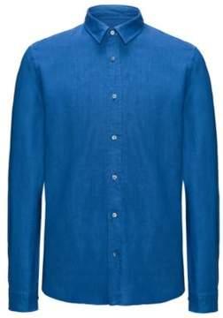 HUGO Boss Linen Sport Shirt, Relaxed Fit Evory M Open Blue