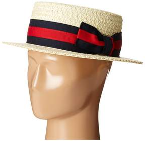 Scala Straw Boater with Two-Tone Stripe Grosgrain Ribbon Caps