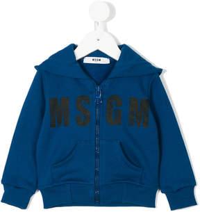 MSGM logo zip front hoodie