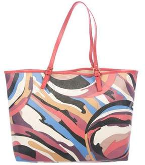 Emilio Pucci Leather-Trimmed Printed Canvas Tote
