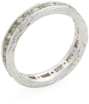 Elizabeth Showers Women's Silver & Green Sapphire Birch Channel Stack Ring