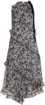 Erdem Zandra drawstring-neck silk-georgette dress