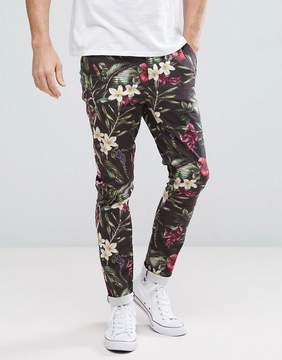 Asos Super Skinny Pants In Bright Floral Leaf Print