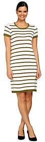C. Wonder Short Sleeve Striped Knee Length Sweater Dress