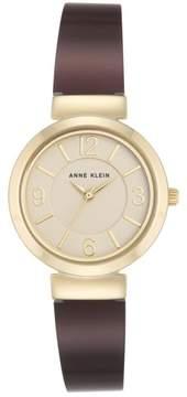 Anne Klein Goldtone Champagne Dial Burgundy Bracelet Watch