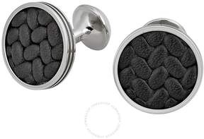 Montblanc Monograin Steel Cuff Links with Leather Inlay