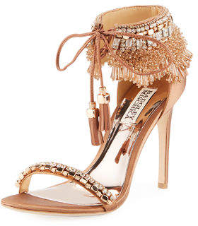 Badgley Mischka Katrina Beaded Tie-Ankle Sandal