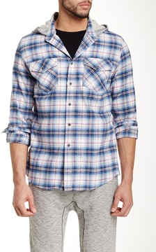 Micros Bryan Hooded Plaid Long Sleeve Regular Fit Shirt