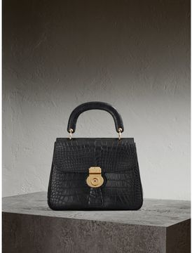 Burberry The Medium DK88 Top Handle Bag in Alligator - BLACK - STYLE