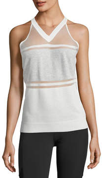 Blanc Noir Vue Paneled Sweater Tank Top, White
