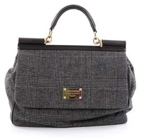 Dolce & Gabbana Pre-owned: Miss Sicily Handbag Wool Large. - GRAY - STYLE