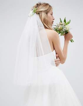 Asos DESIGN Bridal Veil And Floral Comb