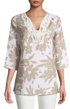 Context V-Neck Crochet-Trim Floral Silhouette Top