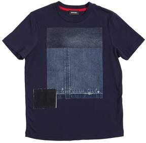 Diesel Cotton Jersey & Light Denim T-Shirt