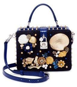 Dolce & Gabbana Embellished Woven Cotton & Snakeskin Top-Handle Bag - BLACK-BLUE - STYLE