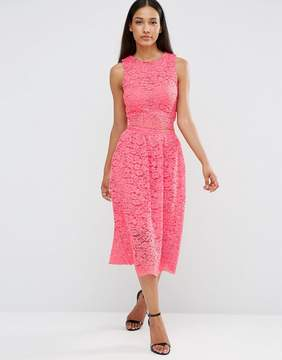AX Paris Sleeveless Lace Midi Dress With Cut Out Middle